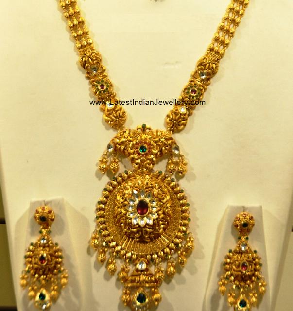 Malabar Gold Antique Long Haram Latest Indian Jewellery