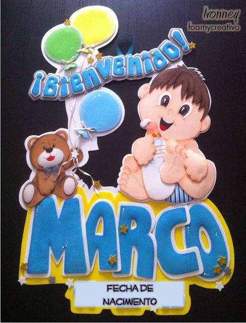 cartel en foami - niño con oso y globos - baby showers