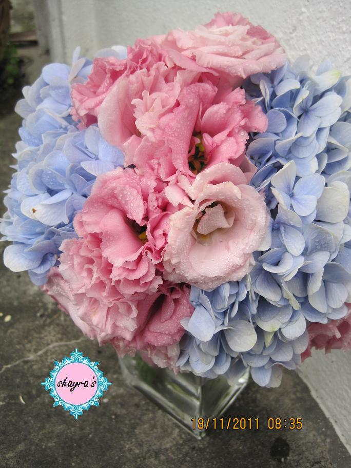 Baby Blue Pink Bridal Bouquet