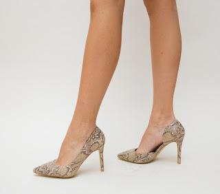Pantofi piele de sarpe de ocazii cu toc inalt decupati la reducere