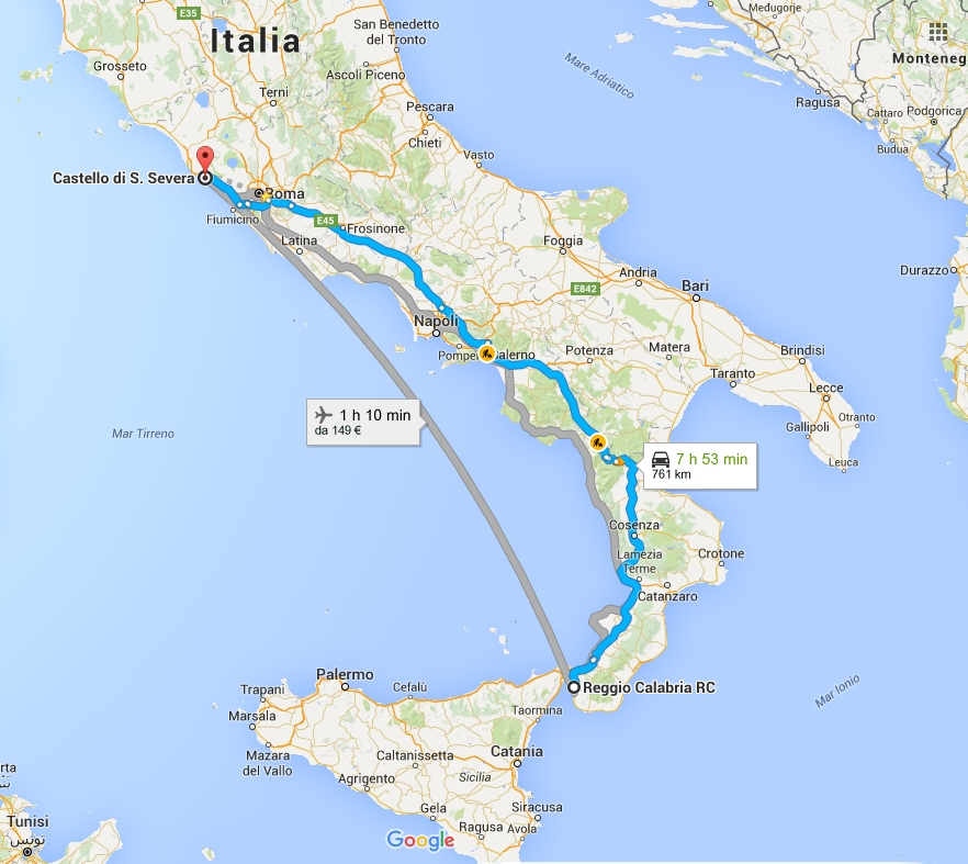 Come arrivare al castello di Santa Severa dal sud Italia mappa