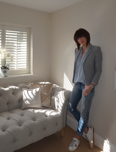My Midlife Fashion, Zara grey single breasted blazer, H and M striped oversized top, zara distressed skinny jeans, golden goose superstar trainers, monica vinader initial diamond pendant