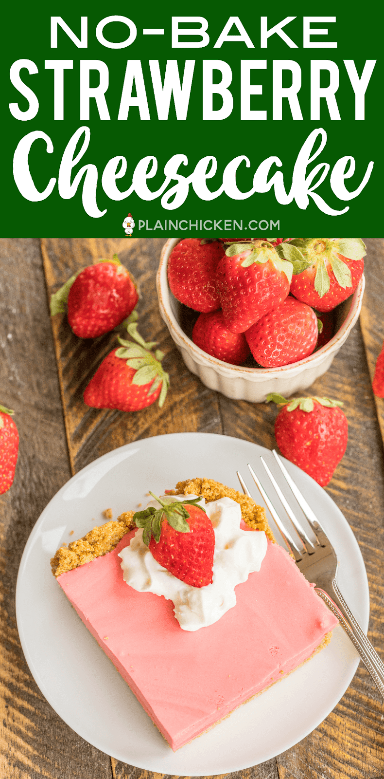 No-Bake Strawberry Cheesecake Recipe - graham cracker crust, light and fluffy no-bake cheesecake - SO good. Seriously, THE BEST no-bake cheesecake EVER! Great with whipped cream and fresh strawberries. Strawberry jello, boiling water, strawberry juice, cream cheese, sugar, vanilla, evaporated milk, graham cracker crumbs, butter. Seriously delicious! Great make ahead dessert recipe for a crowd! #cheesecake #nobakedessert #dessert