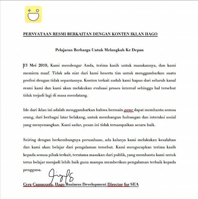 Permintaan Maaf Video Iklan Hago Indonesia