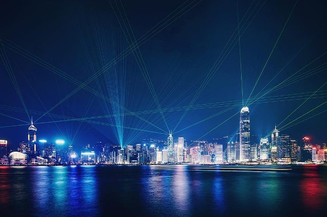 Symphony of Lights in Hong Kong at night