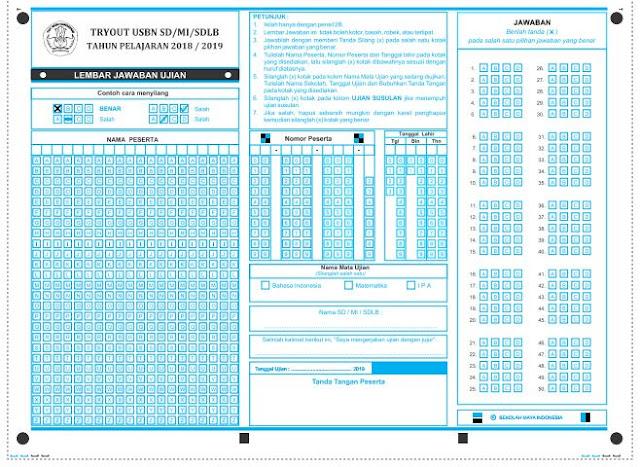 Download LJUK Lembar Jawaban Ujian Komputer TryOut USBN SD/MI/SDLB Tahun Pelajaran 2018/2019