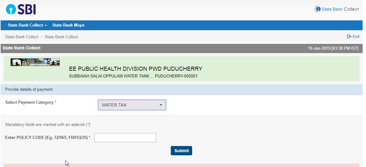 Puducherry Online Bill Payment Sites: Puducherry Water Bill