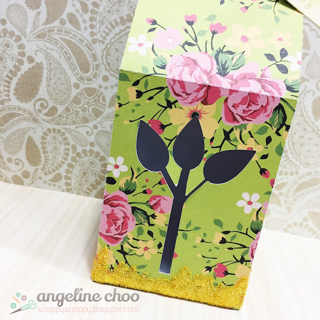ScrappyScrappy: Flowery Milk Carton box with The Cutting Cafe #scrappyscrappy #thecuttingcafe #papercraft #milkcartonbox #dcwv #sweetstampshop #anniversary #paperflower #timholtz #distressglitter