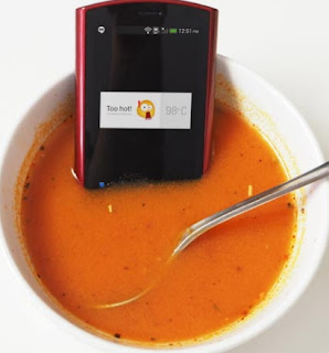 woman hides phone in soup