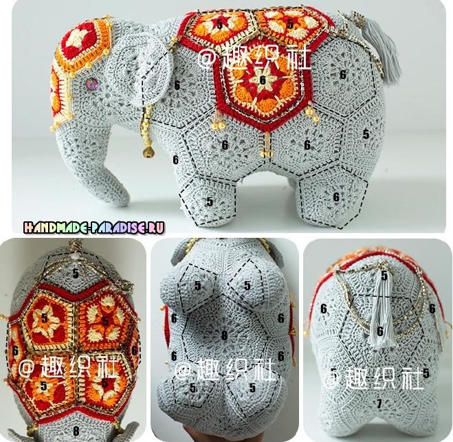 Вязаный слон. Схема сборки мотивов