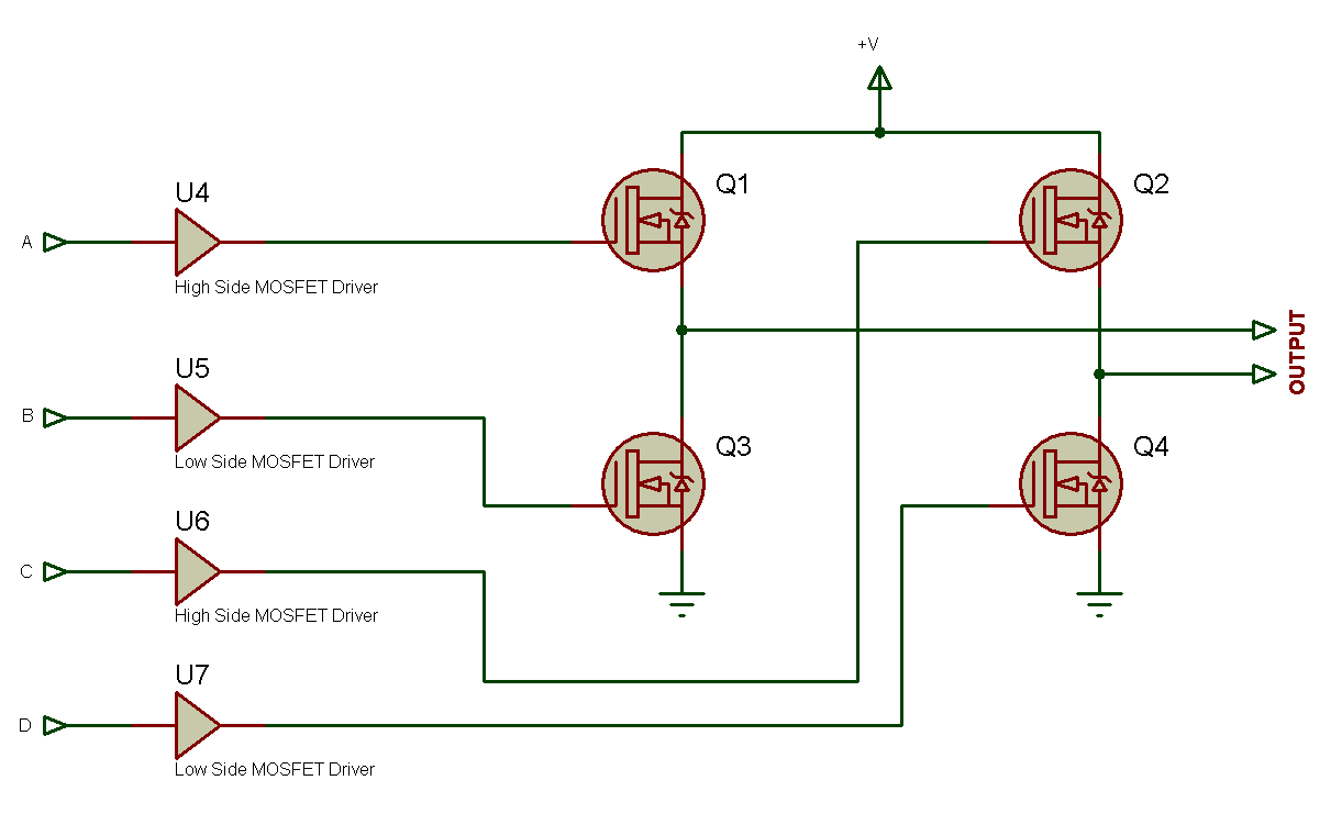 Tahmids Blog Sine Wave Generation Without Eccp Using Single Ccp Figure 2 H Bridge Circuit Below Fig Is The Diagram For Configuration Of Mosfets And Drivers Synchronization With Signals Generated From