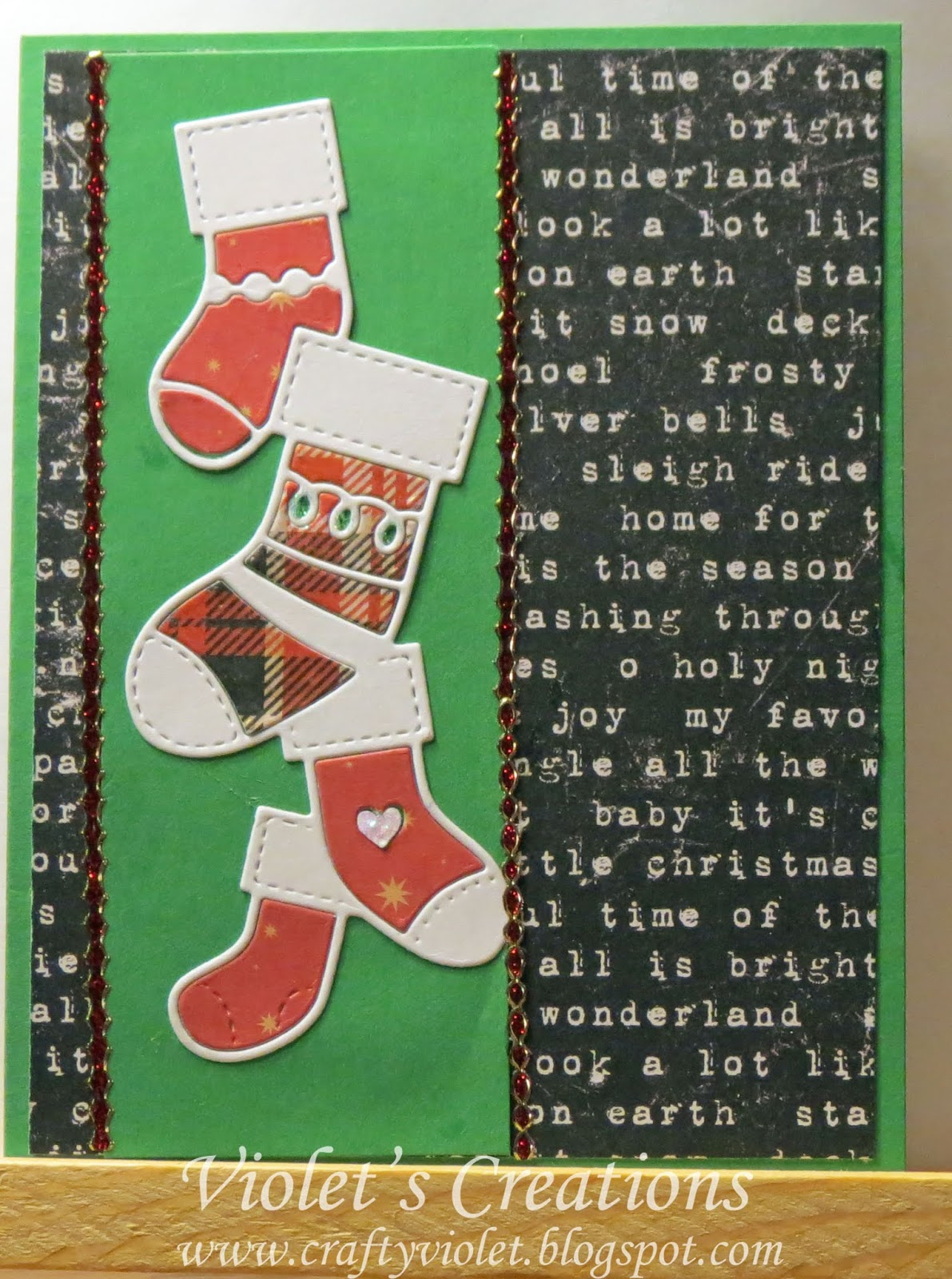 Crafty Violets Chaos Christmas Stockings On A Card