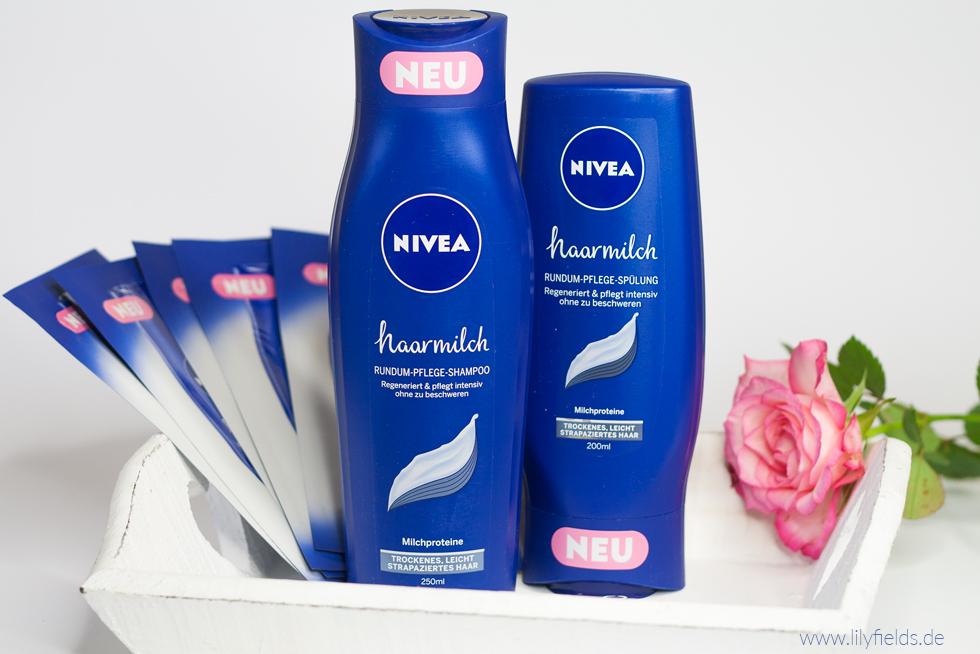 Foto zeigt Nivea Haarmilch Rundum-Pflege Shampoo und Spülung