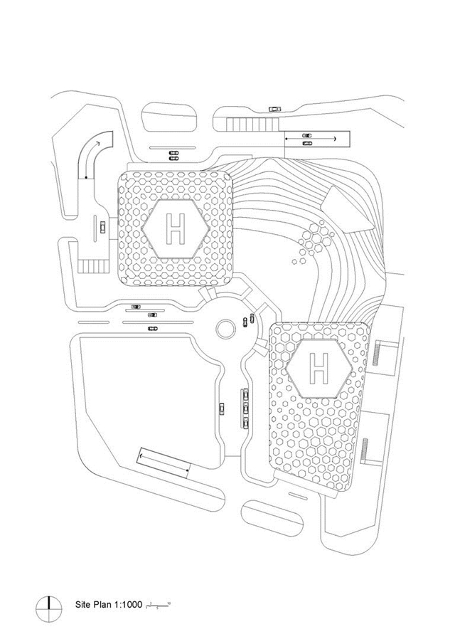 Site plan of the plaza shoeing locations of the skyscraper and smaller annex building