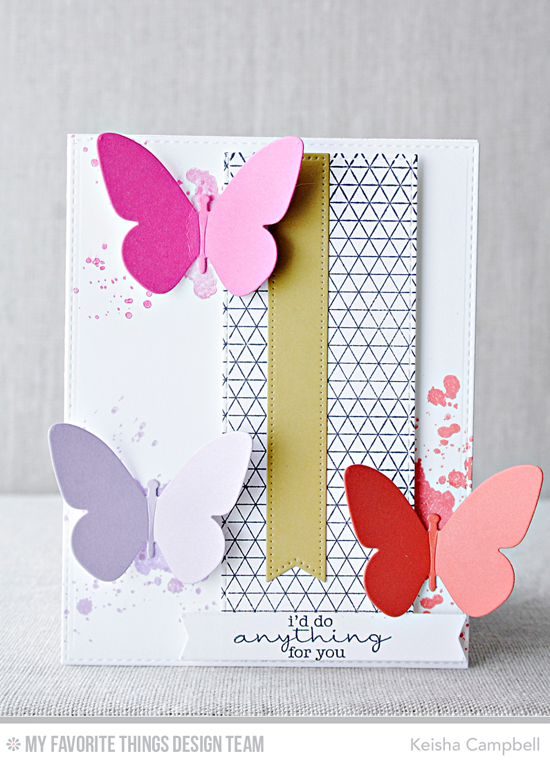 Anything for You Card by Keisha Campbell featuring the Distressed Patterns and Lisa Johnson Designs Delicate Pretty Poppies stamp sets, the Geometric Grid Background stamp, and the Flutter of Butterflies - Solid, Vertical Stitched Strips and Pierced Fishtail Flag STAX Die-namics #mftstamps