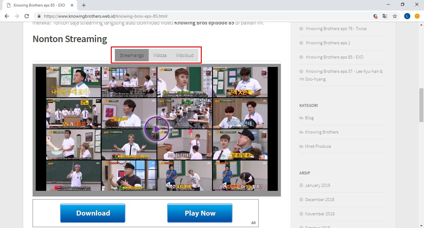 Cara nonton streaming video Knowing Brothers Indonesia