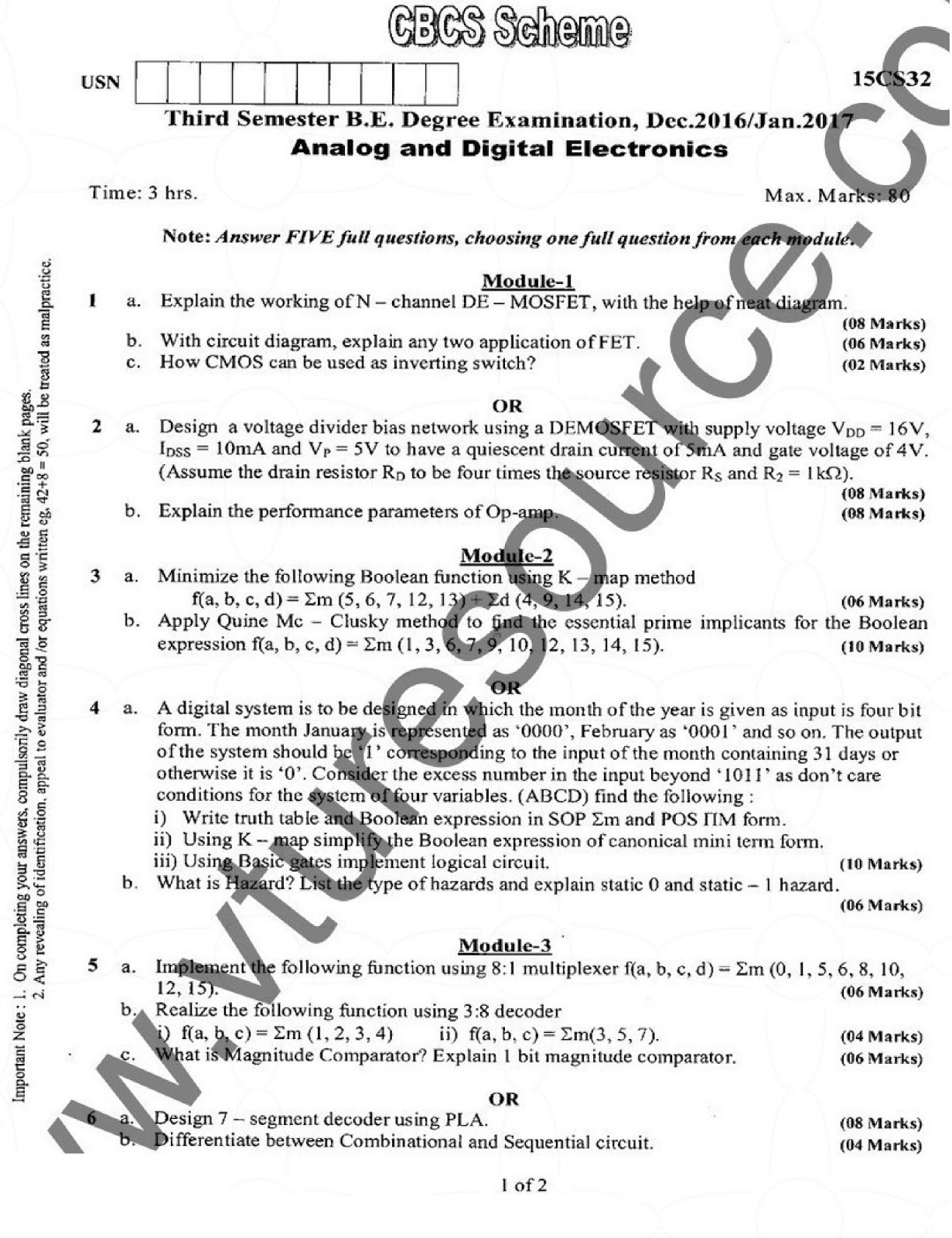 VTU BE 3rd Semester CSE Question Paper : Analog and Digital