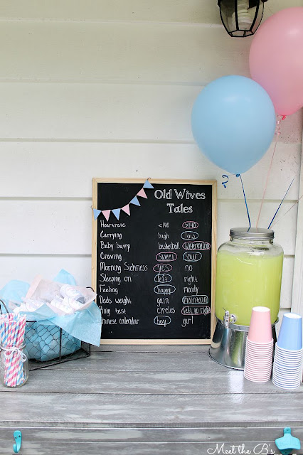 Easy DIY gender reveal party decorations Old wives tales chalkboard sign!