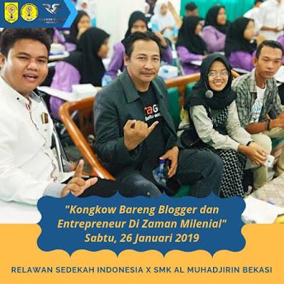"""SMK AL Muhadjirin Gelar Seminar Literasi Digital """"Kongkow Bareng Bloger dan Entrepreneur di Zaman Milenial"""""""