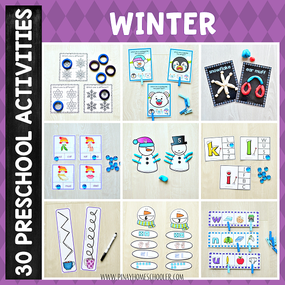 Winter Preschool Unit Math and Literacy Centers