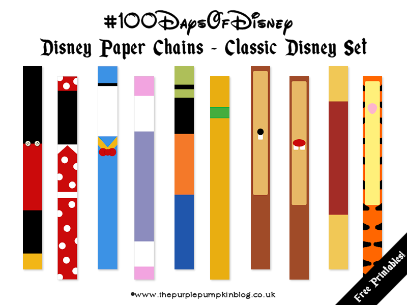 image regarding Disney Countdown Printable named Disney Paper Chains #100DaysOfDisney