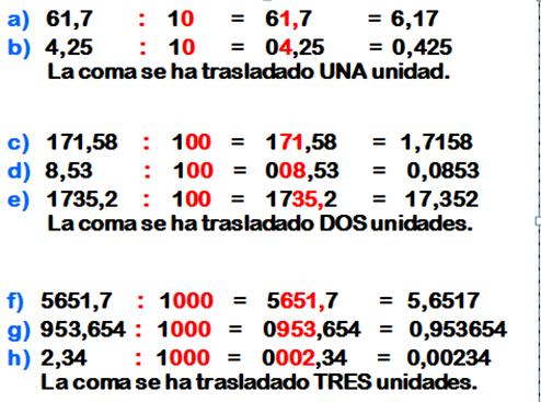 MATEMÁTICA FÁCIL: Multiplicar y dividir por 10; 100; 1000
