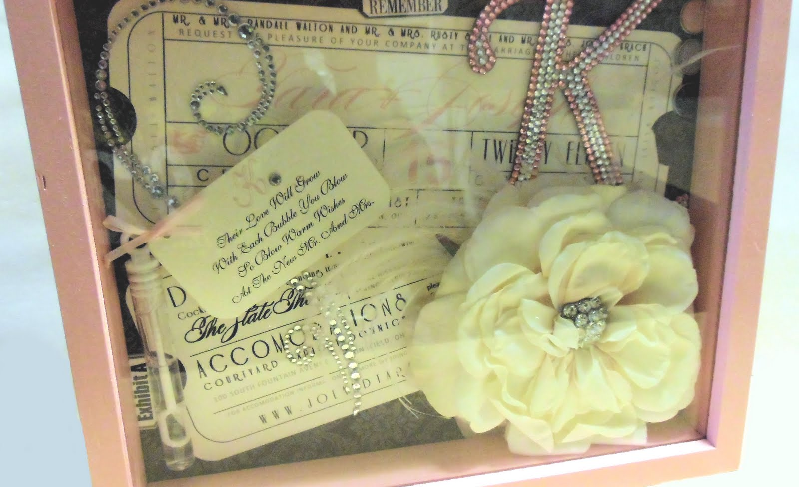 wedding shadow box wedding shadow box This flower with the rhinestone brooch in the middle was from our gift box It was so pretty