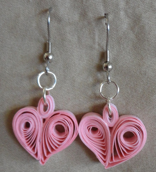 Heart Shape Quilling Earring Designs - Quilling designs