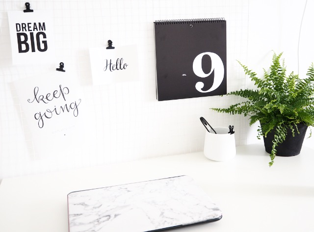monochrome desk decor