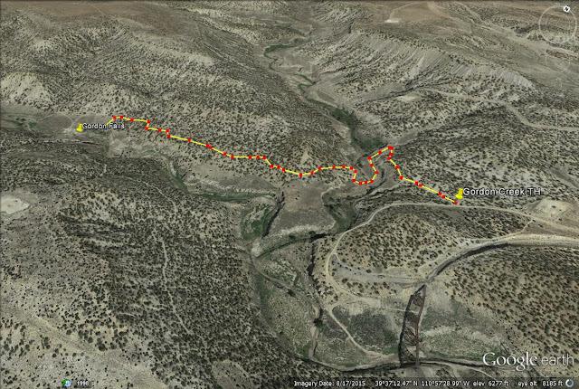 Gordon Creek Waterfalls, Utah trail map