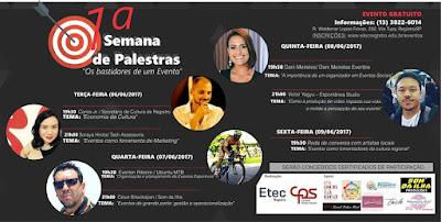 """ETEC Paula Souza promove 1ª Semana de Palestras sobre """"Os bastidores de um Evento"""""""