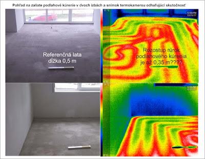 Porovnanie rozostupov rúrok - snímka termokamerou
