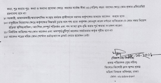 Directorate of Women Affairs Job Circular