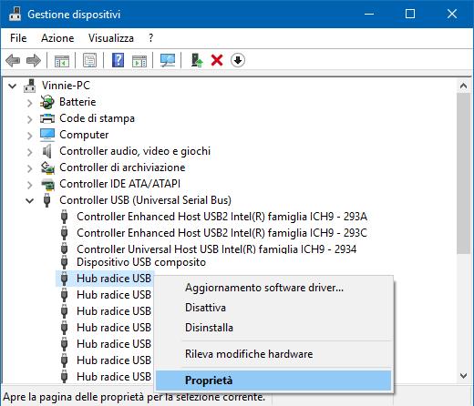 Windows Gestione dispositivi aprire proprietà Hub radice USB