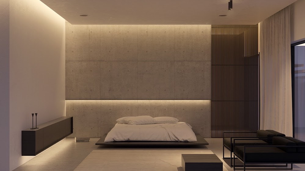 low-futon-bed-concrete-wall-industrial-bedroom
