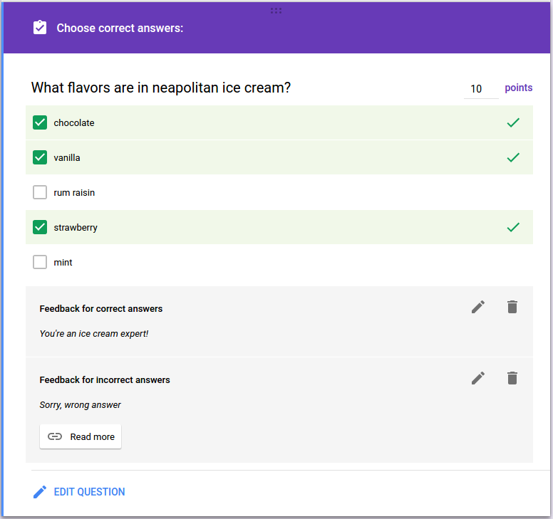 G suite developers blog create quizzes in google forms with apps script function creategradedcheckboxquestionwithautofeedback make sure the form is a quiz var form formapptactiveform form ccuart Image collections