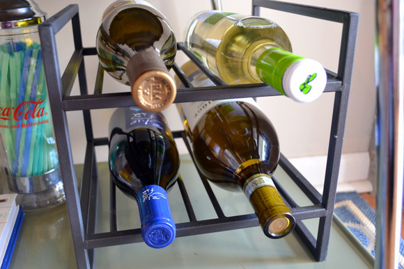 We added a wine rack as well to store a few extra bottles.