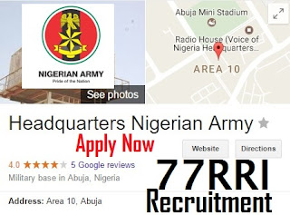 77RRI Nigerian Army Recruitment Form Portal | www.narecruitment:org