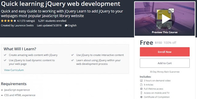 [100% Off] Quick learning jQuery web development| Worth 150$