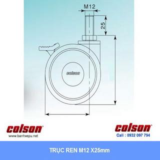 kích thước ty ren Bánh xe đẩy Colson Mỹ cho máy thở, máy nội soi phi 100 | CPT-4854-85