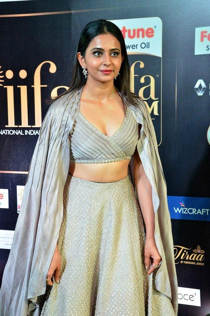 Telugu Actress Rakul Preet Singh At IIFA Awards 2017 In White Dress