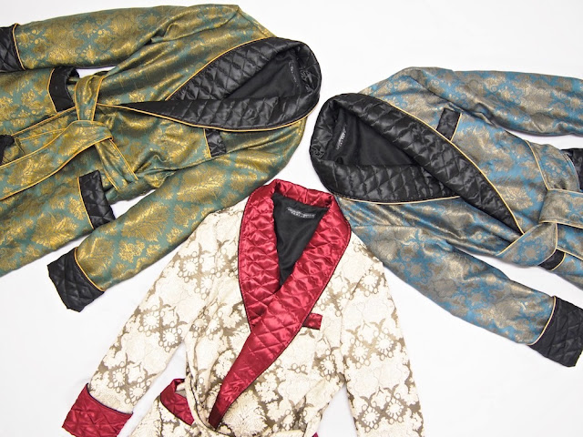 Men's paisley silk robe dressing gown quilted