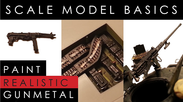 Youtube tutorial: How to paint gunmetal on scale mode planes, tanks and military figures