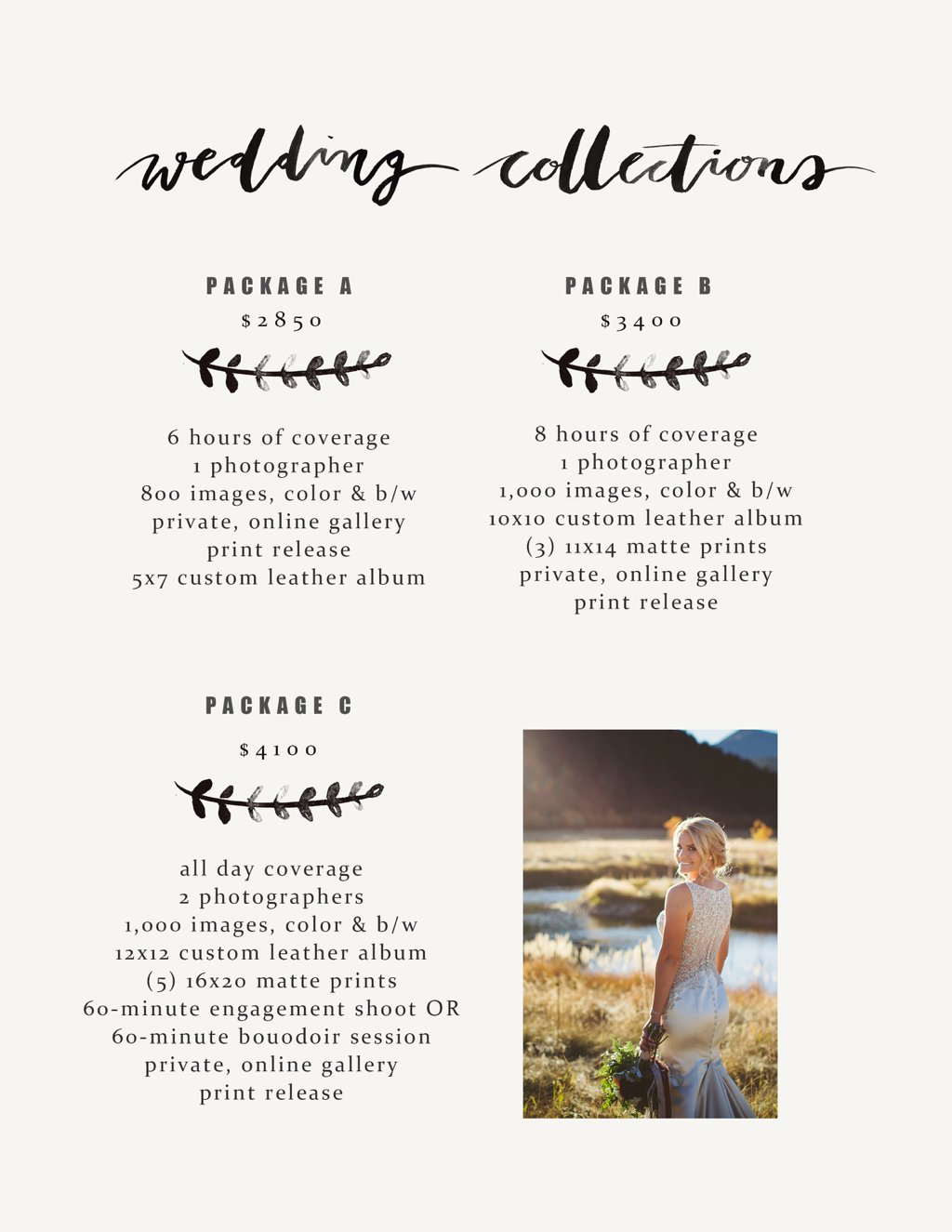 Prices Listed Are For The 2017 And 2018 Wedding Years Price List Has Been Pulled From My 18 Guide To Receive A Copy Please Email Me At