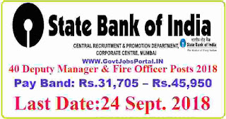 SBI Jobs for Deputy Manager and Fire Officer Posts