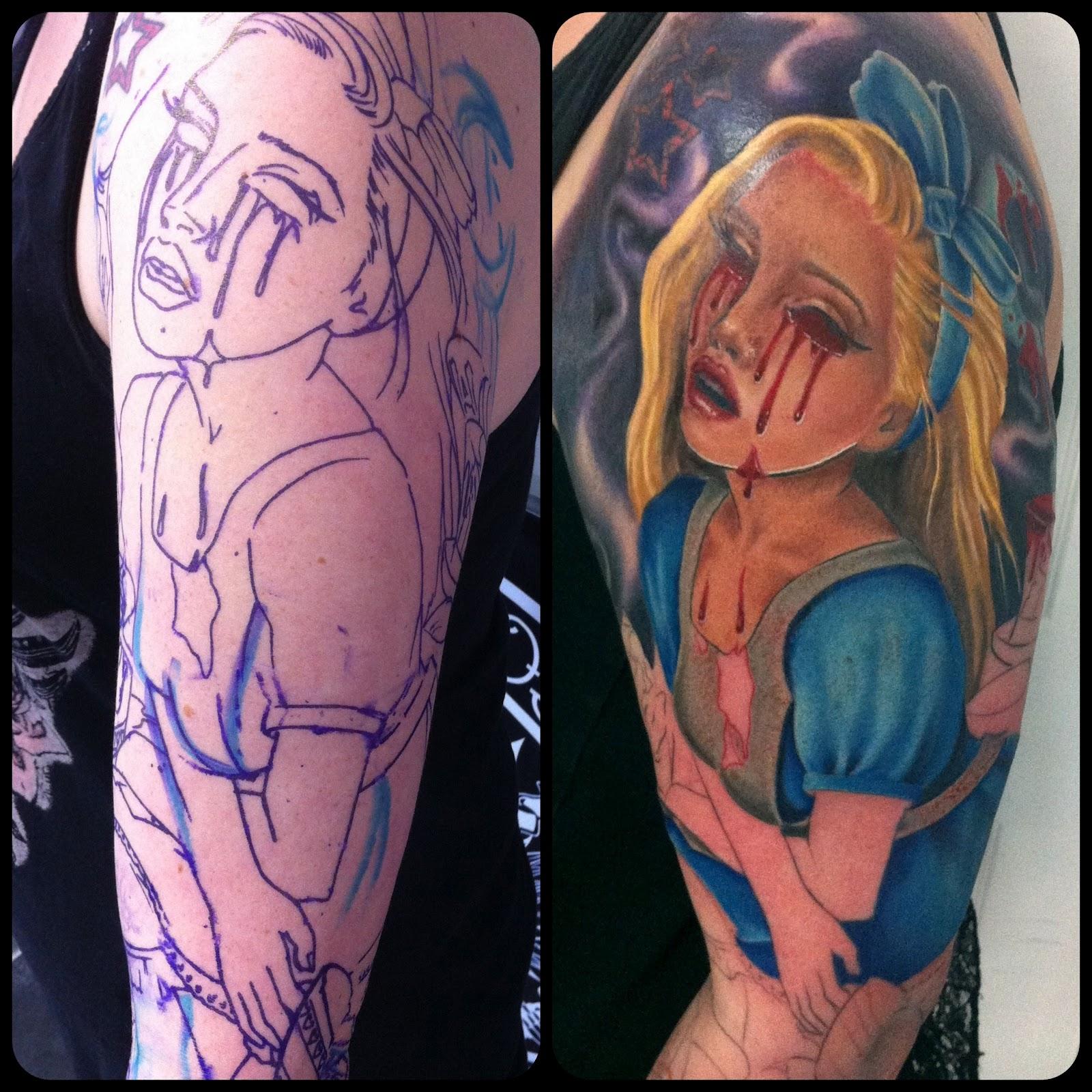 Chloe Black Tattoos Alice in Wonderland sleeve