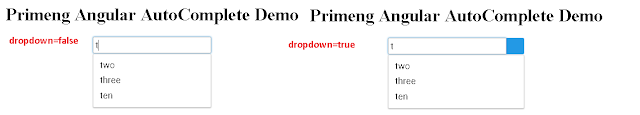 Angular Primeng Autocomplete dropdown example