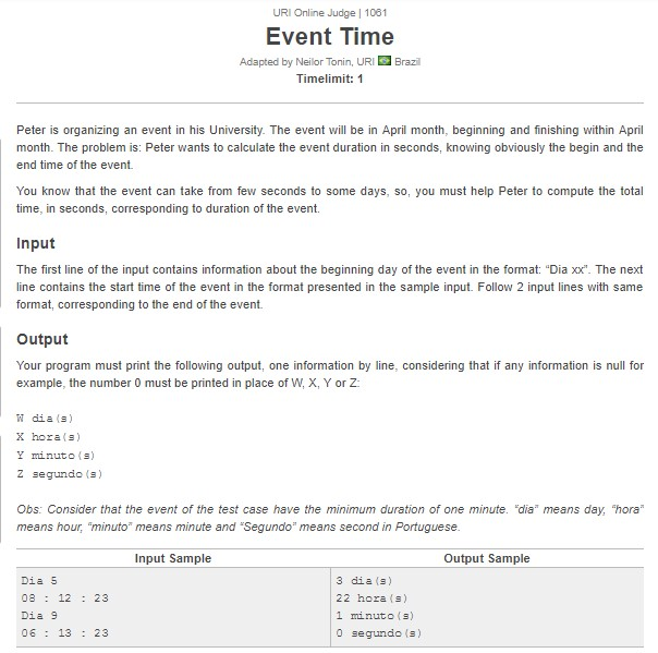 URI Online Judge Solution 1061 Event Time - Solution in C, C++, Java, Python and C#