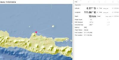 gempa bumi di timur laut pati jawa tengah