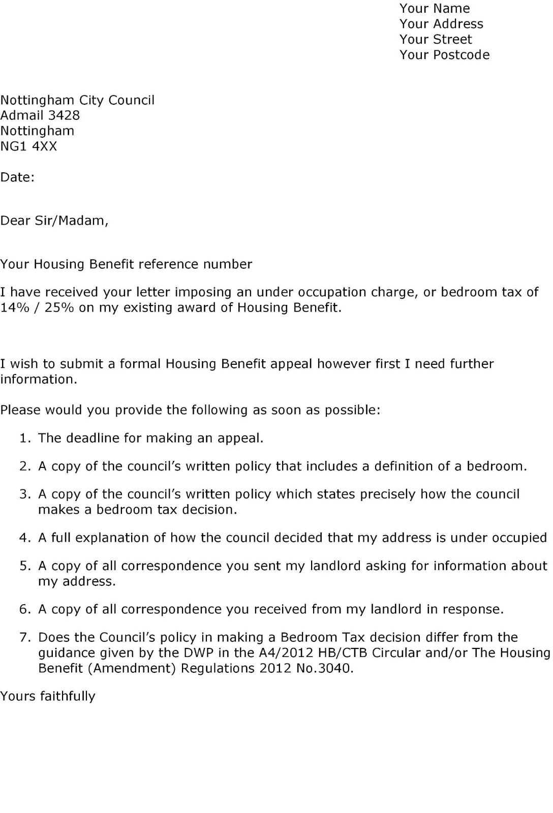 Defend Council Tax Benefits Letter to Council Challenging Reduction